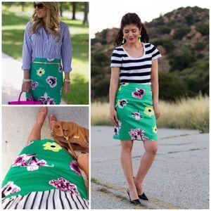 j.crew punk floral pencil skirt